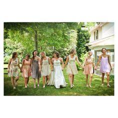 wedding party. non matching bridesmaids
