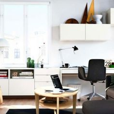 Best IKEA Living Room Design Ideas for 2012 Image 07 - Modern Dark Sofa and Contemporary White Studying Space