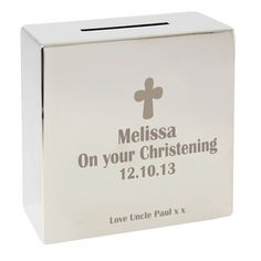 Personalised Christening Silver Money Box From Personalised Gifts Shop Only   Personalised Money Box