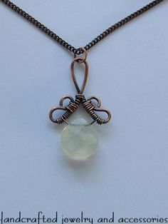 Opalescent Briolette Drop with Copper Wire Wrapped Pendant Necklace