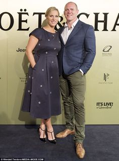 Suave: Zara was later joined on the red carpet by husband Mike Tindall, 38, as they continued to make public appearances since the sad news that they had lost their unborn, second child