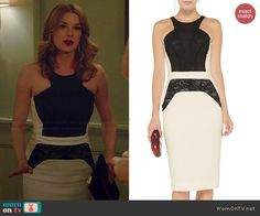 Emily's black and white lace panel dress on Revenge. Outfit Details: http://wornontv.net/43575/ #Revenge