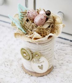 Handmade Nest on Wooden Spool of Twine by lilybeanpaperie on Etsy