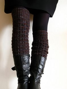 """Knit leggings, perfect for wearing with skirts when the weather gets nasty! Picture shows leggings both fully extended and scrunched down. Pattern is """"some cloudy day,"""" a free download on Ravelry."""