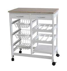 Home basic kitchen trolley with shelves & wine rack. Perfect for any kitchens because it adds storage space with its three-tier shelves. Wheels on the bottom make it very convenient for you to move it to another room when it is not in use.   eBay!