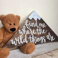 Find Me Where The Wild Things Are // Mountain Peak Cutout Wood Sign // Nursery D. Find Me Where The Wild Things Are // Mountain Peak Cutout Wood Sign // Nursery Decor // Kids Room / Nursery Signs, Room Signs, Nursery Themes, Nursery Decor, Nursery Ideas, Room Ideas, Decor Ideas, Bedroom Decor, Decorating Ideas