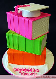 Graduation Stacked Books Cap Cake by Pink Cake Box in Denville, NJ.  More photos at http://blog.pinkcakebox.com/graduation-stacked-books-cap-cake-2010-06-12.htm  #cakes