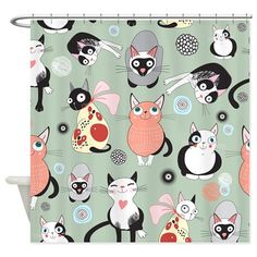 Illustration about Seamless pattern of bright funny cats on green background. Illustration of painting, packaging, cats - 25577997 Cute Cats, Funny Cats, Illustrations, Illustration Art, Cat Shower Curtain, Cat Background, All About Cats, Cat Pattern, Cat Drawing