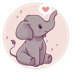 🐘✨ these cute Asian elephants are critically endangered because of poaching and loss of habitat 😖Elephants are just so… Cute Kawaii Animals, Cute Animal Drawings Kawaii, Cute Cartoon Animals, Anime Animals, Kawaii Art, Cute Drawings Of Animals, Drawing Animals, Kawaii Chibi, Scrapbooking Image