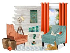 """""""Orange and Teal"""" by thesandlappershop ❤ liked on Polyvore featuring interior, interiors, interior design, home, home decor, interior decorating, Uma, Sun Zero, Jill Rosenwald and Office Star"""