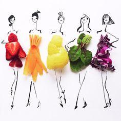 A ilustradora de moda Gretchen Röehrs partilha na sua conta de Instagram uma série de trabalhos onde a comida é incorporada no desenho