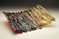 Wave Glass Series- Ambers and Browns with Irid- Fused Glass Art made by me!
