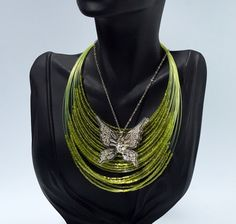 In #CherryOrchardAttic on #eBay Green Seed Bead Multi Strand Layered Wire Floating Necklace & Silver Plated Rhinestone Butterfly Pendant Necklace Lot #jewelry #fashionjewelry #necklace #pendant #Green #SeedBead #FloatingNecklace #Silver #RhinestoneButterfly #silverbutterfly #greennecklace #wirenecklace #multistrand #layeredlook #layerednecklaces #necklaceset
