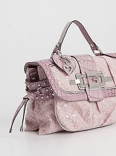 NWT GUESS $110 Premier Crossbody Handbag Purse Satchel Light Pink Logo Print
