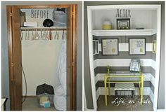 creating an office in a closet, closet, craft rooms, home decor, home office, Before and After