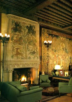 Biltmore fireplace, one of three matching fireplaces in the Tapestry Room, one
