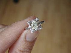 Canary Lemon Yellow Diamond Engagement Ring Halo by PenelliBelle $2599