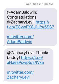 Adam Baldwin, Zachary Levi, Congratulations, Thankful