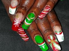 christmas. acrylic and gel.  hand painted design.  hand painted creation