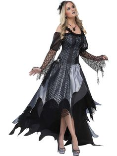 Spider Queen Adult Costume : Gorgeous and gothic! Silver and black lace corset top dress with petal edge layered iridescent skirts, layered gossamer sleeves, spider accents and headband. Skirt bustles in back. Shoes not included. Queen Halloween Costumes, Witch Costumes, Queen Costume, Adult Costumes, Costumes For Women, Adult Halloween, Halloween Halloween, Fairy Costumes, Women Halloween
