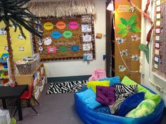 """Jungle Themed Classroom """"Information Hut"""" and """"Reading Lagoon"""" for my jungle themed classroom"""