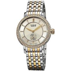 Burgi Womens Two-Tone and Silver-Tone Diamond Accent Bracelet Watch (£110) ❤ liked on Polyvore featuring jewelry, watches, silvertone jewelry, water resistant watches, watch bracelet, stainless steel wrist watch and stainless steel bracelet watch