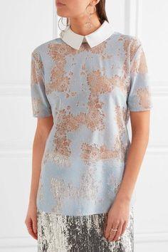 Carven - Cotton Twill-trimmed Lace Blouse - Blue - FR40