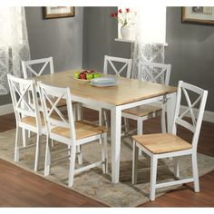 Simple Living Crossback White/ Natural 7 Piece Dining Set By Simple Living