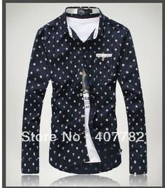 Free shipping mens 2013 autumn casual shirt males anchor style long-sleeved shirts clothings Asia size M/L/XL/XXL/XXXL