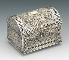 A Miniature Silver Filigree Chest