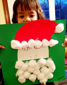 Easy Christmas Craft for Toddlers: Give Santa a beard
