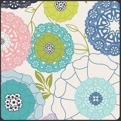 PATRICIA BRAVO Avant Garden in Blanc Fat by laughinghousefabric, $2.55