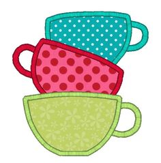Tea Cups Applique Machine Embroidery Design-INSTANT DOWNLOAD. $3.00, via Etsy.