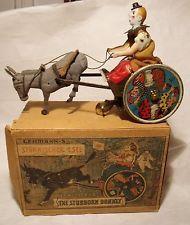 The Stubborn Donkey Vintage German Tin Wind-Up Toy w/Box & Instructions