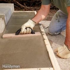 Repair or Replace - Pouring Concrete Steps Over time, concrete steps break up. Water soaks into the concrete, freezes, breaks off the outside corners and will spread to the front edge. This article will show you how to repair old concrete steps and make Concrete Patios, Concrete Edger, Poured Concrete Patio, Broken Concrete, Concrete Pad, Mix Concrete, Concrete Walkway, Concrete Forms, Concrete Projects