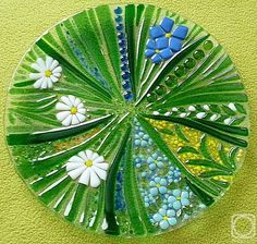 """Repina Elena. Glass dish for the holiday table, """"Motley grass"""" fusing"""