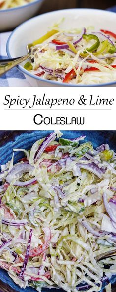 Spicy Jalapeno and Lime Coleslaw - This creamy, spicy coleslaw has a bit of a kick and is a great side dish to bring to a bbq or have on taco night. | justalittlebitofbacon.com