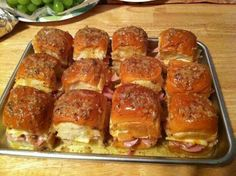 Best ham sandwiches made with sweet Hawaiian rolls yummy.... Preheat oven to 375 then bake for 15 minutes or until cheese is melted.