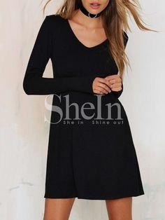 Vestido cuello redondo grande manga larga -negro 10.66