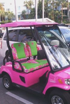 5fd6eb29c4e7 Pink and green Lilly Pulitzer golf cart. I would love to have this!