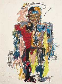 Reproduction de Basquiat, Self portrait - 1982. Tableau peint à la main dans nos ateliers. Peinture à l'huile sur toile.