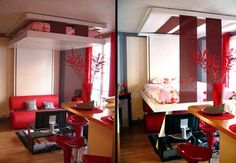 Ceiling Bed BedUp system saves space by storing your bed near the ceiling