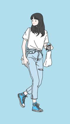 18 Ideas drawing step by step bts for 2019 Cute Art Styles, Cartoon Art Styles, Cute Illustration, Character Illustration, Character Art, Character Design, Ligne Claire, Korean Art, Cute Cartoon Wallpapers