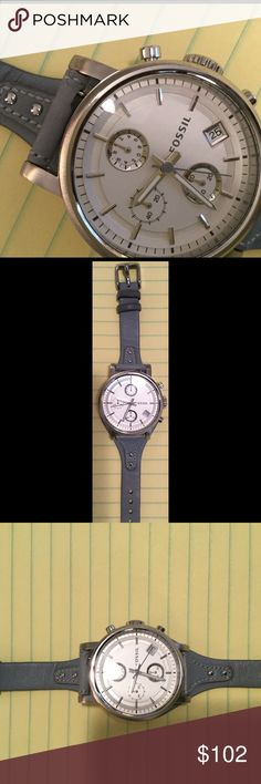 Fossil Leather Boyfriend Watch Beautiful and in great condition light blue leather Fossil Boyfriend Watch. fossil Accessories Watches