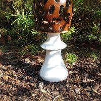 @Keramysh Gartendeko aus Ton, leuchtende Pilz