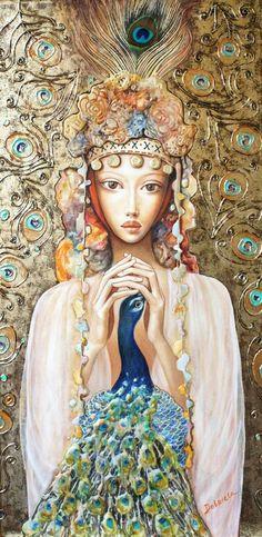 """Dobriela Koeva  -  """"Girl with peacock"""""""