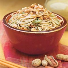 Thai Noodle Salad Recipe  note: also add coconut milk, and you can exchange crushed peanuts for peanut butter.