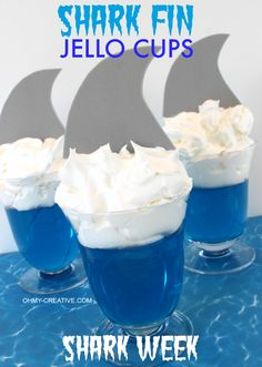 Could also do this with green jello and a mermaid tail for food at a mermaid party. Maybe some at the party would want sharks though! Shark Fin Jello Cups perfect for a shark party or celebrating Shark Week Boy Birthday, Birthday Parties, Birthday Crafts, Birthday Nails, Birthday Ideas, Shark Craft, Shark Week Crafts, Jello Cups, Hawaian Party