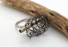 Silver Ring Tube With Oxidized Wire