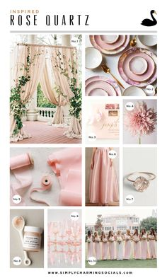 Rose Quartz wedding inspiration + mood board | Simply Charming Socials #pantone #coloroftheyear